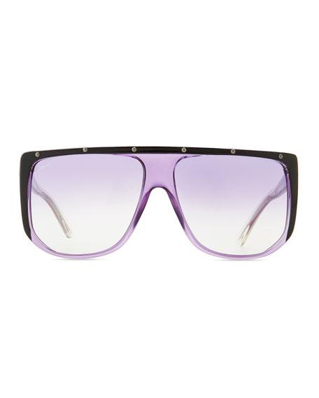Studded Plastic Shield Sunglasses, Purple