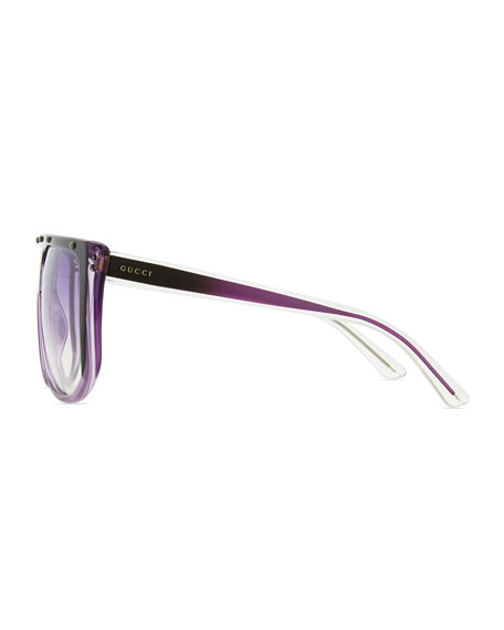 Studded Plastic Shield Sunglasses, Purple