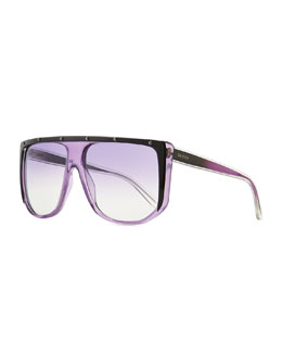 Gucci Studded Plastic Shield Sunglasses, Purple