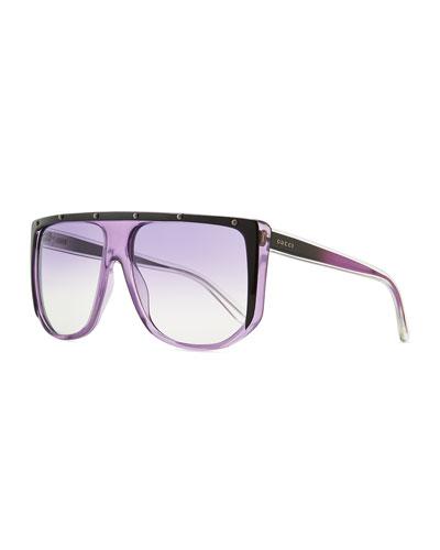 Gucci Studded Plastic Shield Sunglasses, Purple