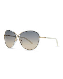 Tom Ford Ivory Plastic & Golden Metal Sunglasses