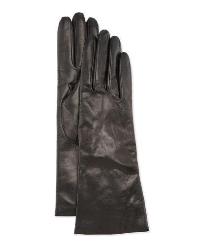 Portolano Cashmere Lined Leather Gloves, Black