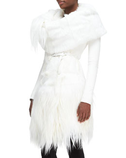 Donna Karan Down-Fill Goat Fur Collar