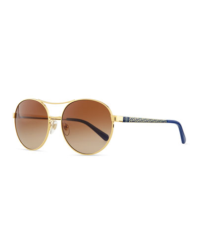Metal Round Aviator Sunglasses with Logo Arms, Gold/Blue