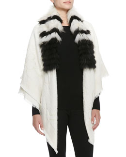 Roberto Cavalli Striped-Fur-Collar Wrap