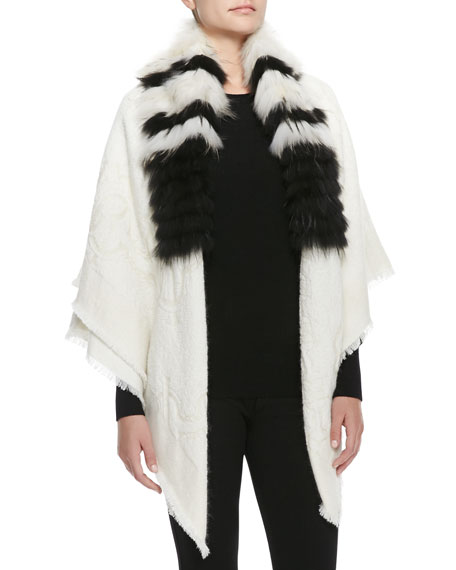 Striped-Fur-Collar Wrap