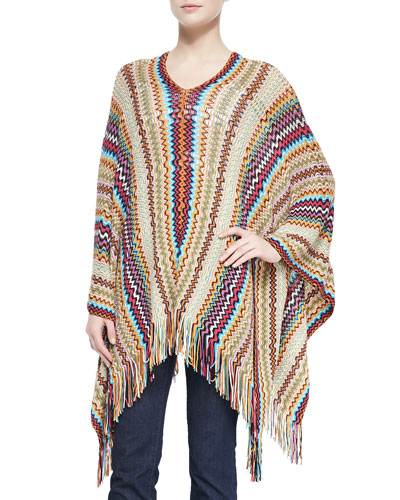 Missoni Long Zigzag Poncho with Fringe, Orange