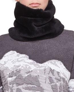 Akris punto Shearling Fur Scarf, Black