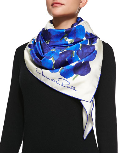 Silk Tulip-Print Scarf, Blue