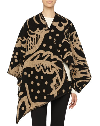 Burberry Prorsum Thistle Motif Blanket Poncho, Camel