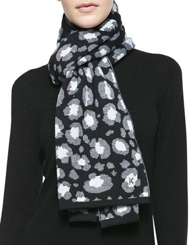 Leopard Knit Scarf, Black/Gray