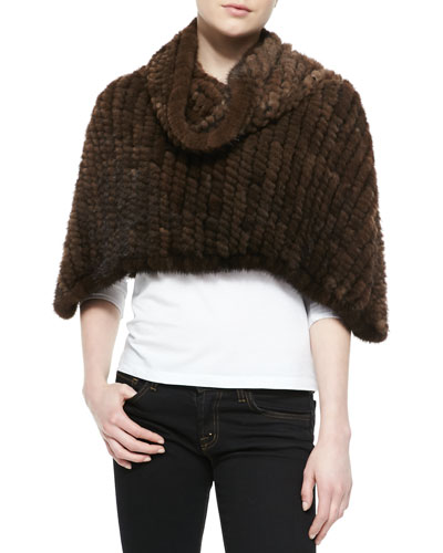 Knit Mink Fur Capelet with Cowl