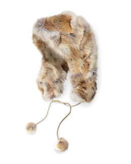 Coyote Fur Hat with Pompom, Beige