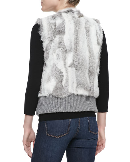 Knit-Banded Rabbit Patchwork Vest, Gray