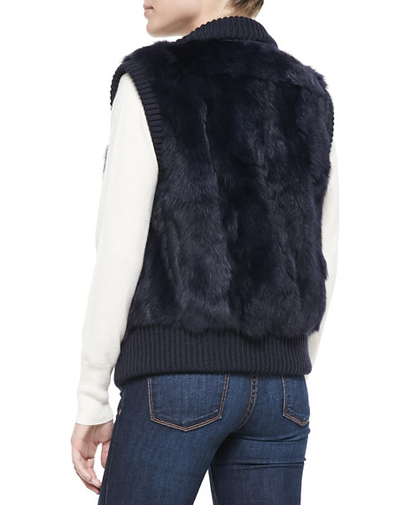 Rabbit Patchwork Vest, Navy