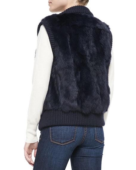 Rabbit Patchwork Vest, Navy