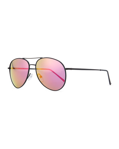 Illesteva Metal Aviator Sunglasses, Black/Pink