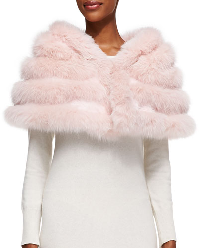 Fox/Rabbit Fur Stole, Pink