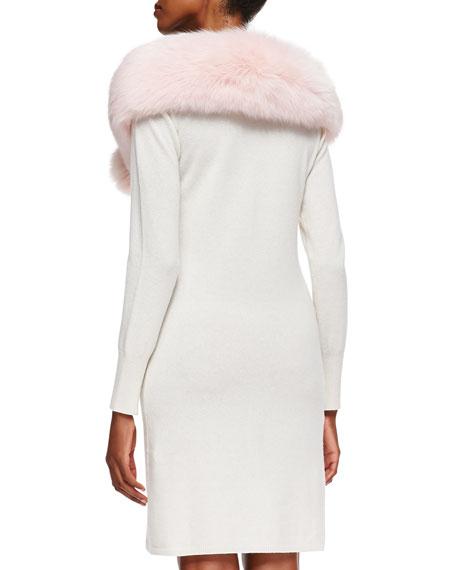Fox Fur Button Stole, Blush
