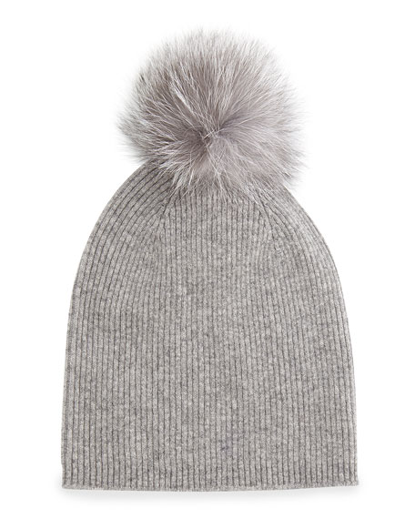 Cashmere Fur-Pom Hat, Gray