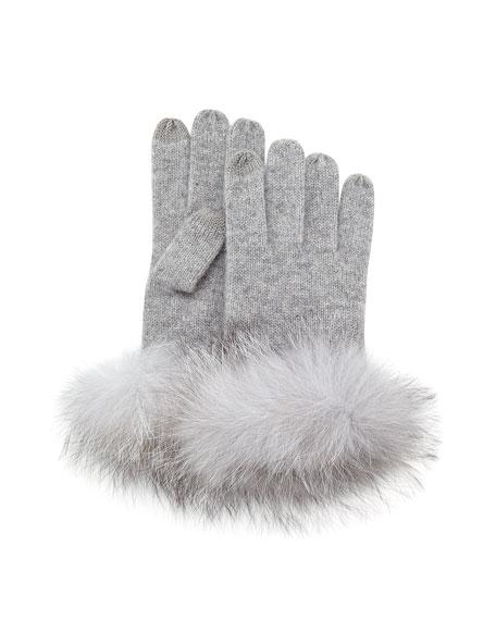 Sofia Cashmere Cashmere Fur-Cuff Gloves, Gray
