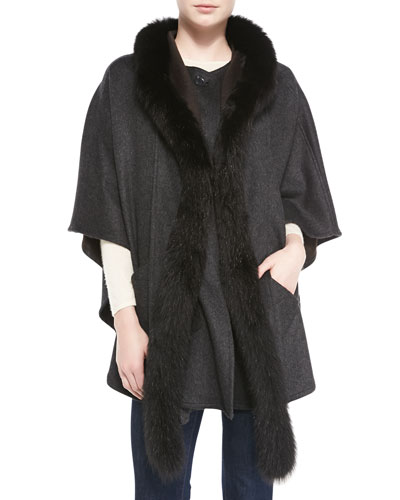 Fur-Trim Cape with Detachable Hood