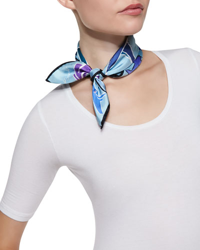 Airplane-Print Mini Square Scarf, Mint