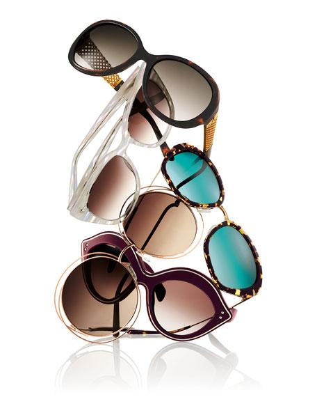 Carlina Round Wire-Frame Sunglasses, Rose Gold