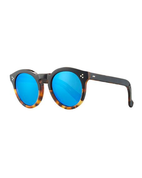 Leonard Round Half & Half Sunglasses, Tortoise
