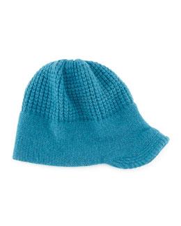 Knit Peak Hat with Visor, Teal