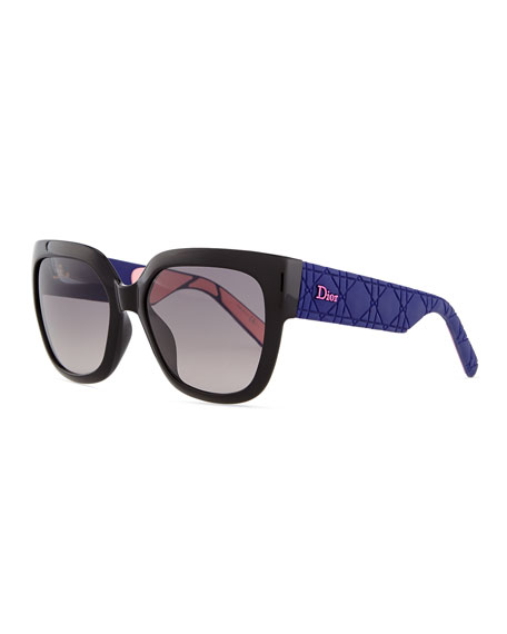 Dior My Dior Cannage-Arm Sunglasses, Black/Purple