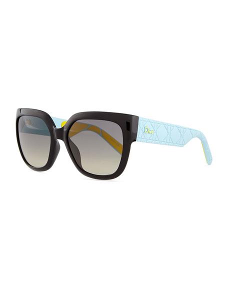 DiorMy Dior Cannage-Arm Sunglasses, Black/Blue