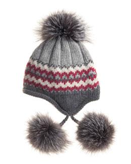 Striped Knit Beanie with Fur Pompoms, Gray