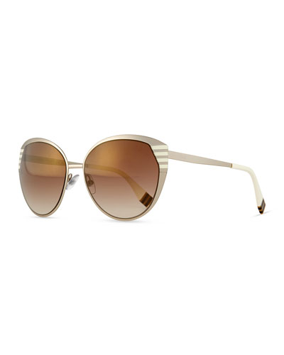 Striped-Temple Metal Sunglasses, Silver
