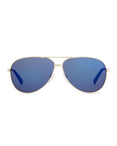 Golden Aviator Sunglasses with Blue Lens