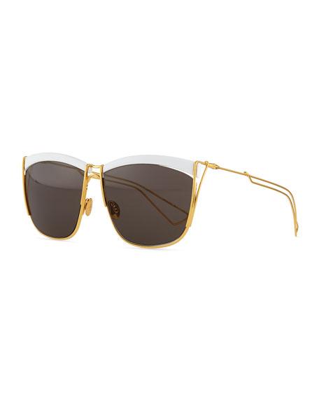 Metal Rectangular Sunglasses, White/Golden