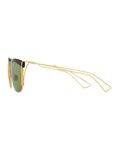 Metal Wire Rectangle Sunglasses, Black/Gold