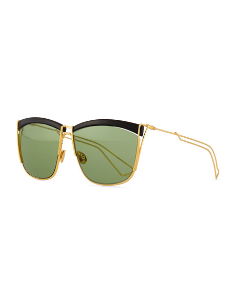 Dior Metal Wire Rectangle Sunglasses, Black/Gold
