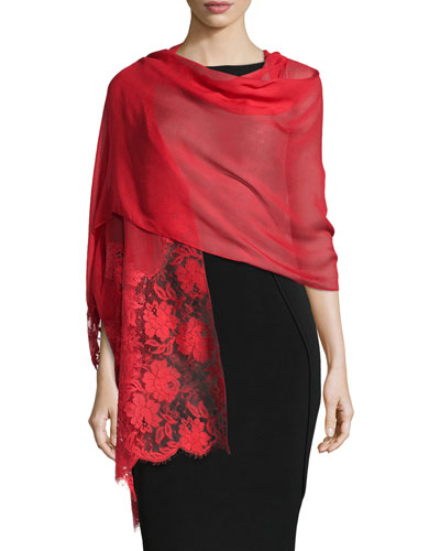 Floral Lace Trimmed Shawl, Rose