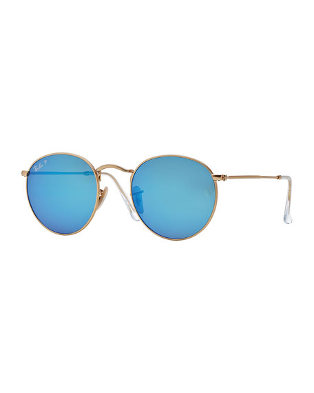 Ray-Ban Polarized Round Metal-Frame Sunglasses with Blue Mirror Lens ...
