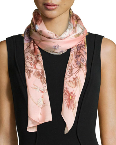 Bloole Floral-Print Stole, Pink
