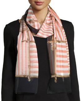 Regalia Striped Silk Stole, Black/Pink