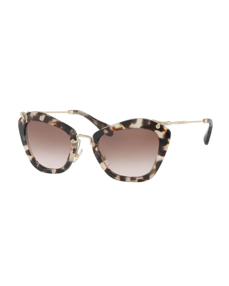 Cat-Eye Acetate Sunglasses, Black