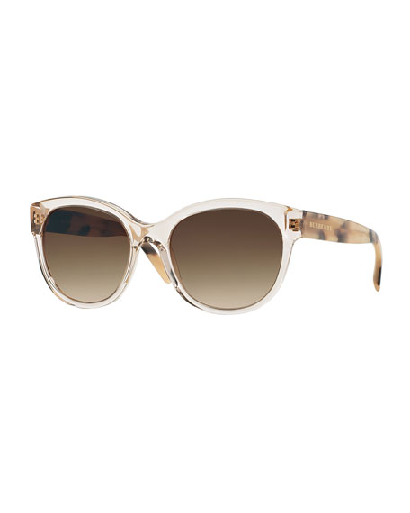 Butterfly Acetate Sunglasses, Clear Horn
