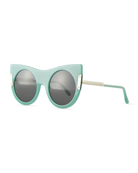 Round Sunglasses with Peaked Temples, Blue