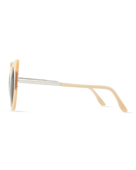 Stella McCartney Round Sunglasses with Peaked Temples, Nude