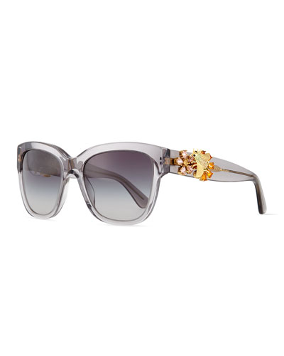 Jewel-Encrusted Sunglasses, Gray