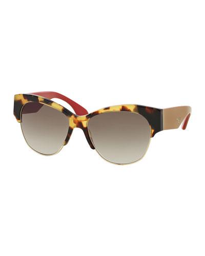 Semi Rimless Cat-Eye Sunglasses, Havana
