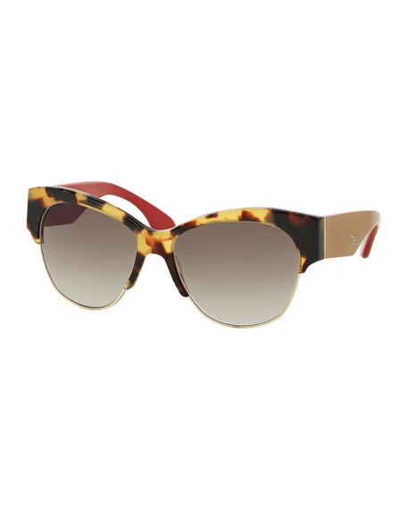 Rimless Cat Eye Glasses : Prada Semi Rimless Cat-Eye Sunglasses, Havana