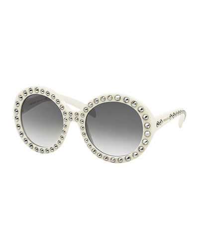 Round Studded Sunglasses, Ivory